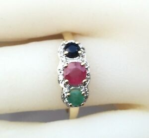 Three-stone-Genuine-Sapphire-Emerald-Ruby-Yellow-Gold-Plated-925-Silver-Ring-7
