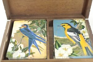 Vintage-Stardust-Nuvue-PLAYING-CARDS-in-Souviner-wood-box-2-decks-VERY-GOOD-COND