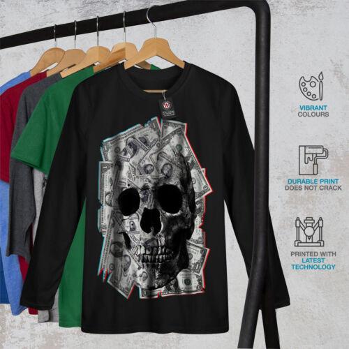Wellcoda soldi Scheletro Rock Da Uomo Manica Lunga T-shirt Devil Graphic Design