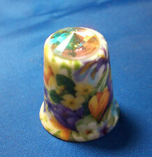 Birchcroft China Thimble - Spring Floral with Swarovski Crystal -- Free Dome Box