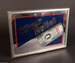 Coors Light Beer Silver Bullet Clock Mirror Vintage Ebay