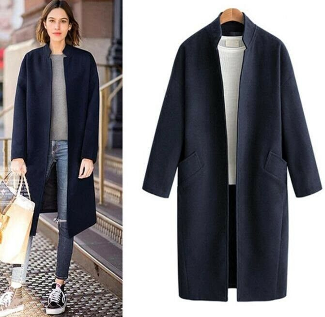 mujer Wool Blend Cashmere Outdoor Long Retro Loose Coat  Parka Slim Stand Collar  buena calidad