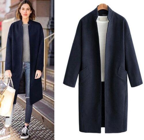 Parka Loose Collar Long Stand Blend Coat Long Womens Outdoor ull Cashmere Slim xU4wnTZa
