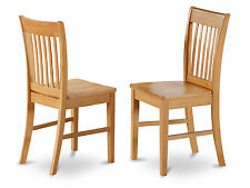 Set of 2 Norfolk dinette kitchen dining chairs with wood seat in light oak