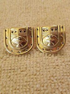 "1980's Laurel Burch Gold Mask Man pierced earrings  3/4"" 12K Old Filled posts"