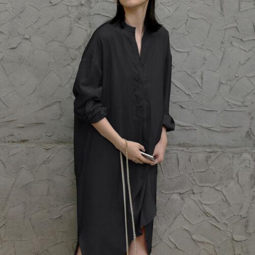Damen Kleid Freizeitkleid Shirtkleid Casual Longtop Plus Split Cotton Kleider