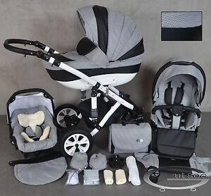 Gutsoo Kombi Kinderwagen Black Karo 3in1 Babyschale Autositz Babywanne Neu Ebay
