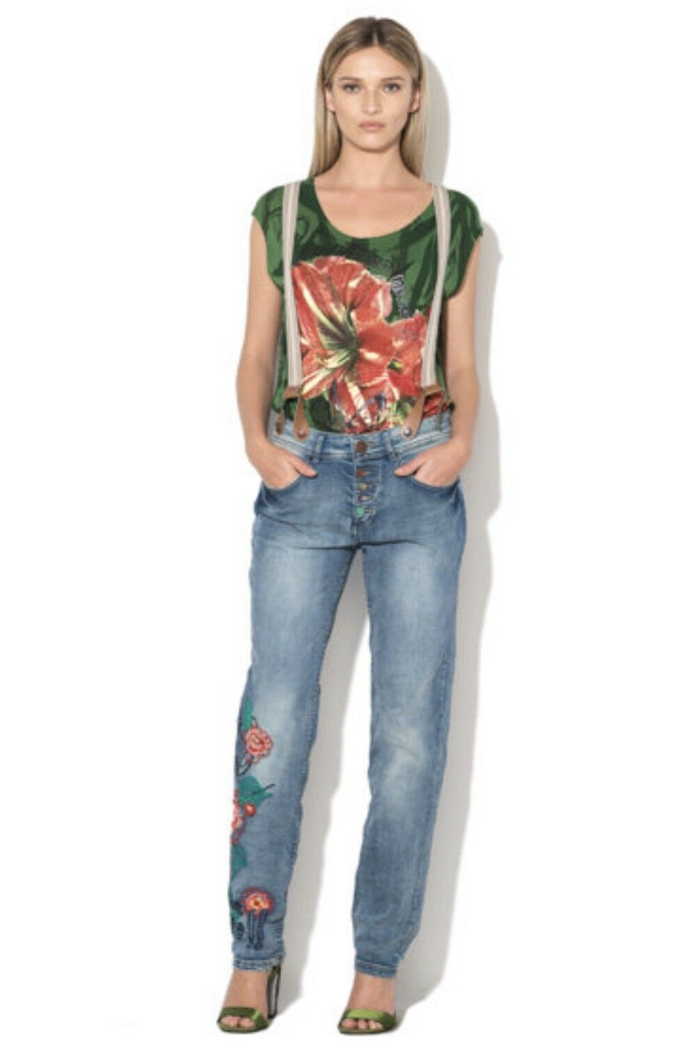 New Desigual Women Button Fly Embroidered Boyfriend Jeans W24 EUR ""
