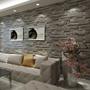 Image Is Loading Grey Charcoal Slate 3D Effect Stone Brick Wall