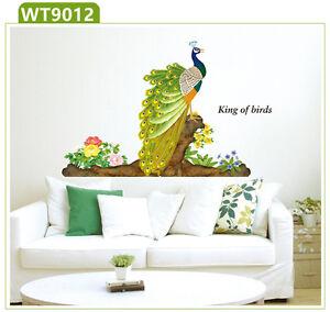 Das Bild Wird Geladen Wandtattoo Pfau Auf Ast Blumen Wandaufkleber Wandsticker Deko