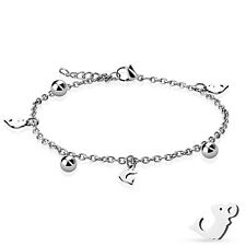 Dangling Dolphin and Ball Charm Chain 316L Stainless Steel Anklet or Bracelet