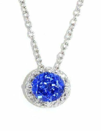 1 Ct Blue Sapphire 6mm Round /& Diamond Pendant .925 Sterling Silver