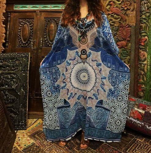Long Blue Mandala Cotton Blend Beach Kaftan Dress Size 18-20-22-24
