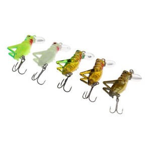 5pcs 4cm Fishing Lures Artificial Grasshopper Lures Insect Shape Hard Bait HOT
