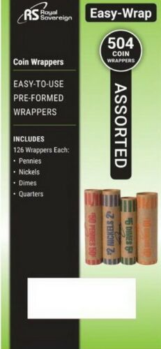 504 Pre-Formed Coin Wrappers Tubes 126 Penny Nickel Dime Quarter Royal Sovereign