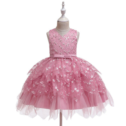 Princess Baby Girl Party Tutu Dress Embroidered Floral Pageant Wedding Birthday