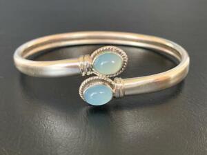 925 Sterling Silver Bangle Bracelet Blue Chalcedony Gemstone Open End Women