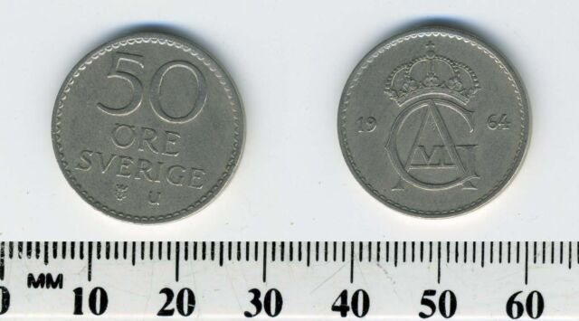 Sweden 1964 - 50 Ore Copper-Nickel Coin - Gustaf VI Adolf