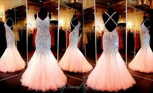 7bbb52b2070 Image is loading 2018-Coral-Mermaid-Crystal-Prom-Dresses-Beaded-Sequin-