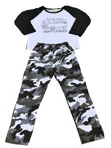 Jungen-Camouflage-Armi-Outfit-Set-Bluse-Hose-Autobus-Langarm-Baumwolle