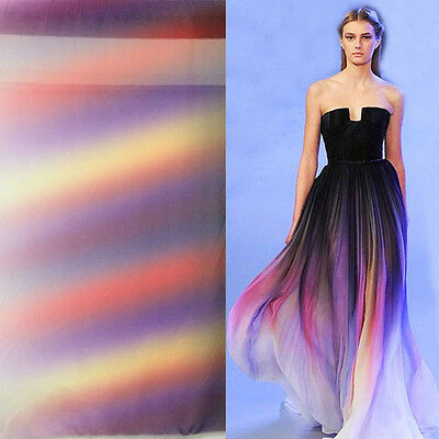 2 Yds Fashion Gradual Color Chiffon Fabric Colorful gowns Dress Material