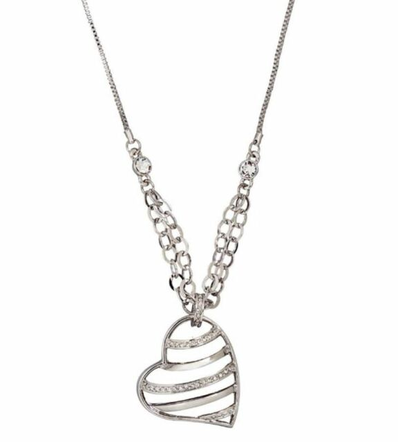 DSE 5122360 Wired Heart Necklace Swarovski clear crystal / rhodium-plated MIB