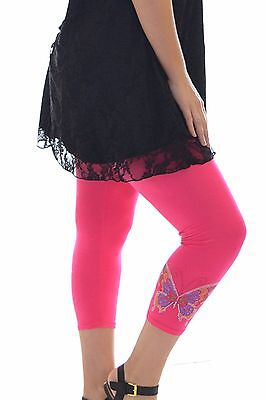 Womens Leggings Studded Butterfly Tattoo Full Length Cropped Plus Size Nouvelle