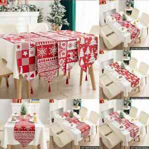 Christmas Tablecloth Knitted Fabric Table Runner Dining Decoration New Ebay