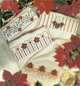 Poinsettias-Fingertip-Towel-Borders-Cross-Stitch-Pattern-from-a-magazine-Holiday
