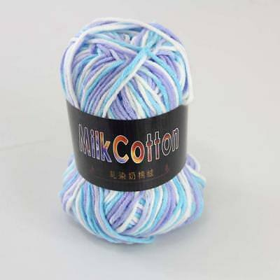 Multi-color 1ballx50g Cotton Soft Baby Hand-dyed Wool Socks Scarf Knitting Yarn