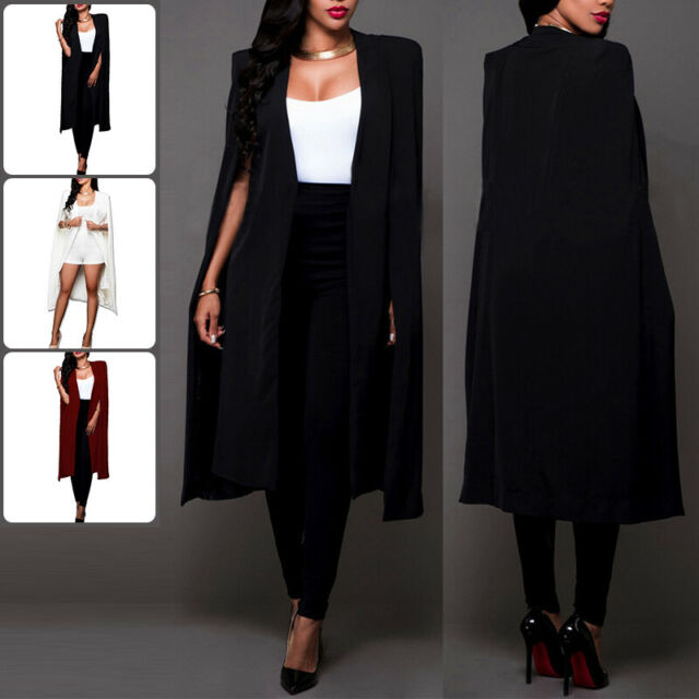 Women Casual Open Front Cape Cloak Trench Duster Coat Longline Cardigan Suit Coat