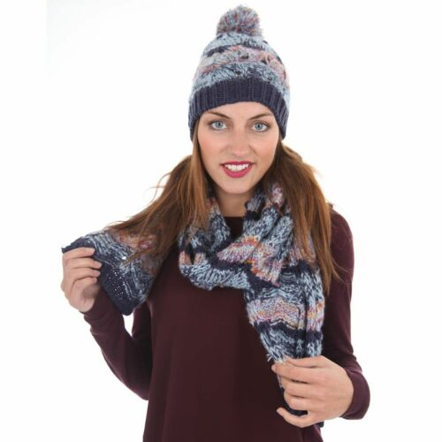 b908nvy Euphyllia Blythe Multi-Colour Ladies Knitted Scarf Navy