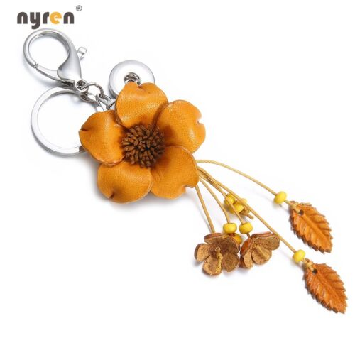 Leather Flower Charms Snap Keychains Keyring Fit 18mm Snap Button Snap Jewelry