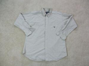 Ralph-Lauren-Chaps-Button-Up-Shirt-Adult-Large-Brown-Green-Crest-Casual-Men-90s