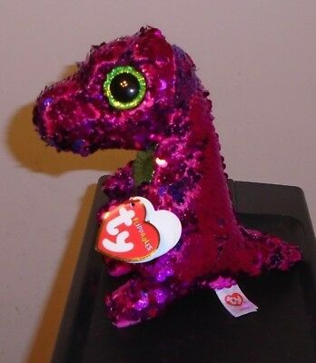 "Ty FLIPPABLES ~ STOMPY the Dinosaur ~ Changing Sequins Medium 9/"" Beanie Boos NEW"