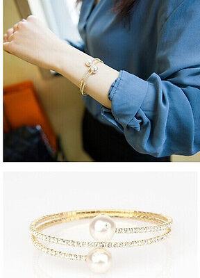New Fashion Charm Multilayer Full Rhinestone Double Pearl Bracelet Cuff Bangle