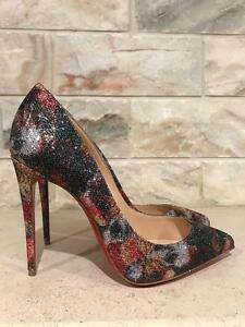 9773c11d1d9f Image is loading NIB-Christian-Louboutin-Pigalle-Follies-100-Black-Glitter-
