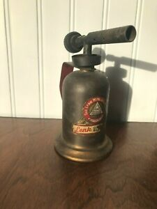 Vintage-Mini-Gasoline-Blow-Torch-Lenk-MFG-Co-Boston-Mass-Made-in-U-S-A