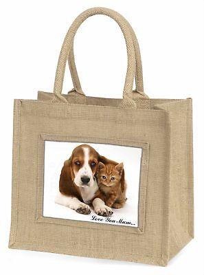 Basset und Katze' Liebe, die sie Mama 'Große natürliche jute-einkaufstasche Chri