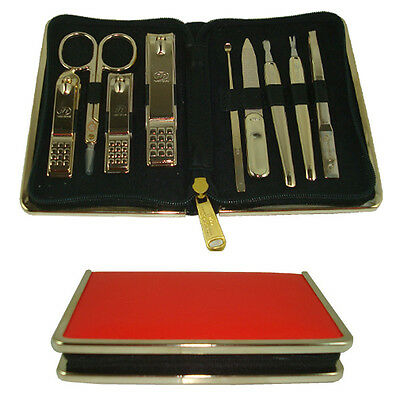 Three Seven Travel Manicure Pedicure Grooming Set,steel,TS-940G_Red