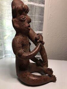 Vintage Mexican Folk Art Pottery Aztec Tribal Statue w/ Music Rasp Instrument