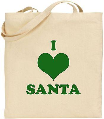 I Love Santa Groß Baumwolle Einkaufstasche Weihnachten Bag Geheim Cool