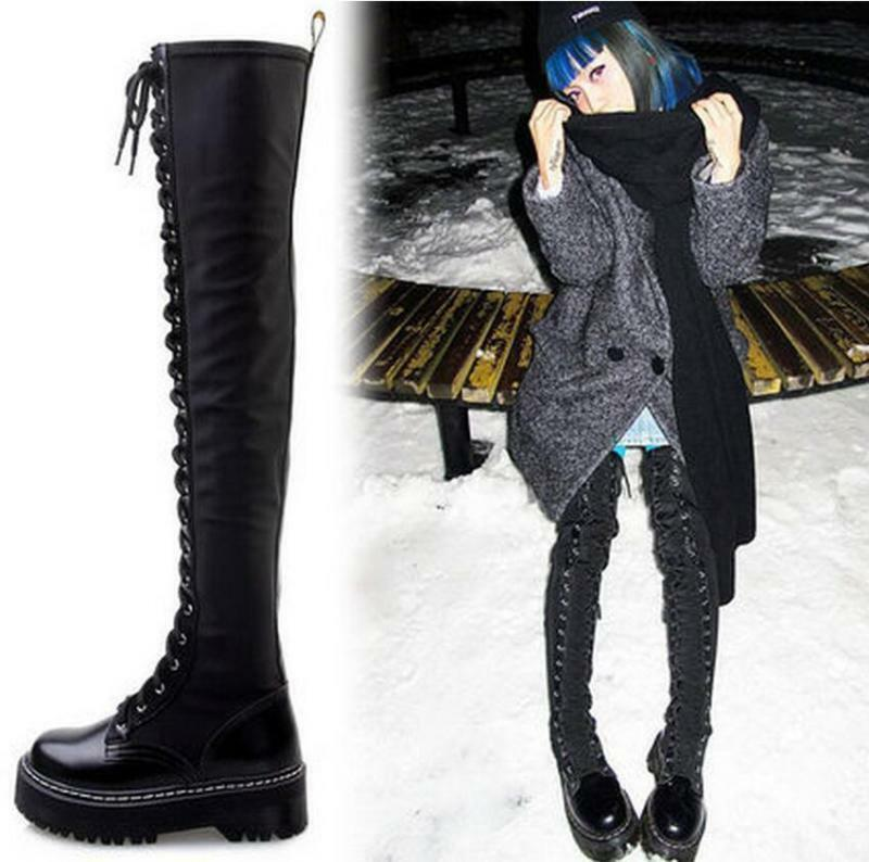 Women's Ridding Leather Lace Up Over Over Over Knee High Boots Knight Long shoes Platform 5d3fff