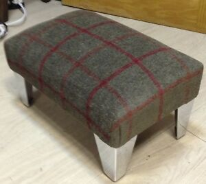 Excellent Details About Small Footstool Pouffe Foot Rest Stool Dark Green Check Fabric Gmtry Best Dining Table And Chair Ideas Images Gmtryco