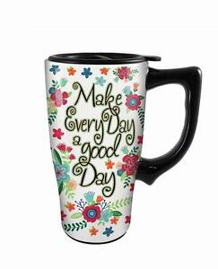 Floral Black White About Mug Ceramic With Details Travel Handle Good 16oz Day Iyb76Yfvg