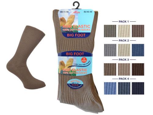 12 PAIRS MENS BIG FOOT 11-14 LOOSE TOP COTTON SOCKS SWOLLEN ANKLES
