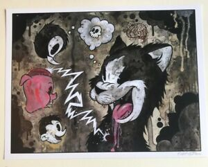 "PSYCHEDELIC CAT DREAMS 12x15"" signed print By Frank Forte Pop Surrealism Cartoon"