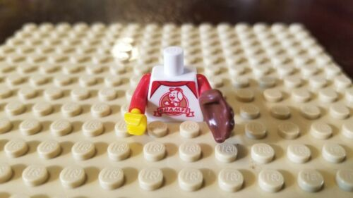 Lego Male Female Minifig Baseball Torso T-Shirt Red Trim CHAMPS Sports w// Glove