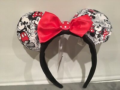 Disneyland Paris Mickey Ears Headband Black And White