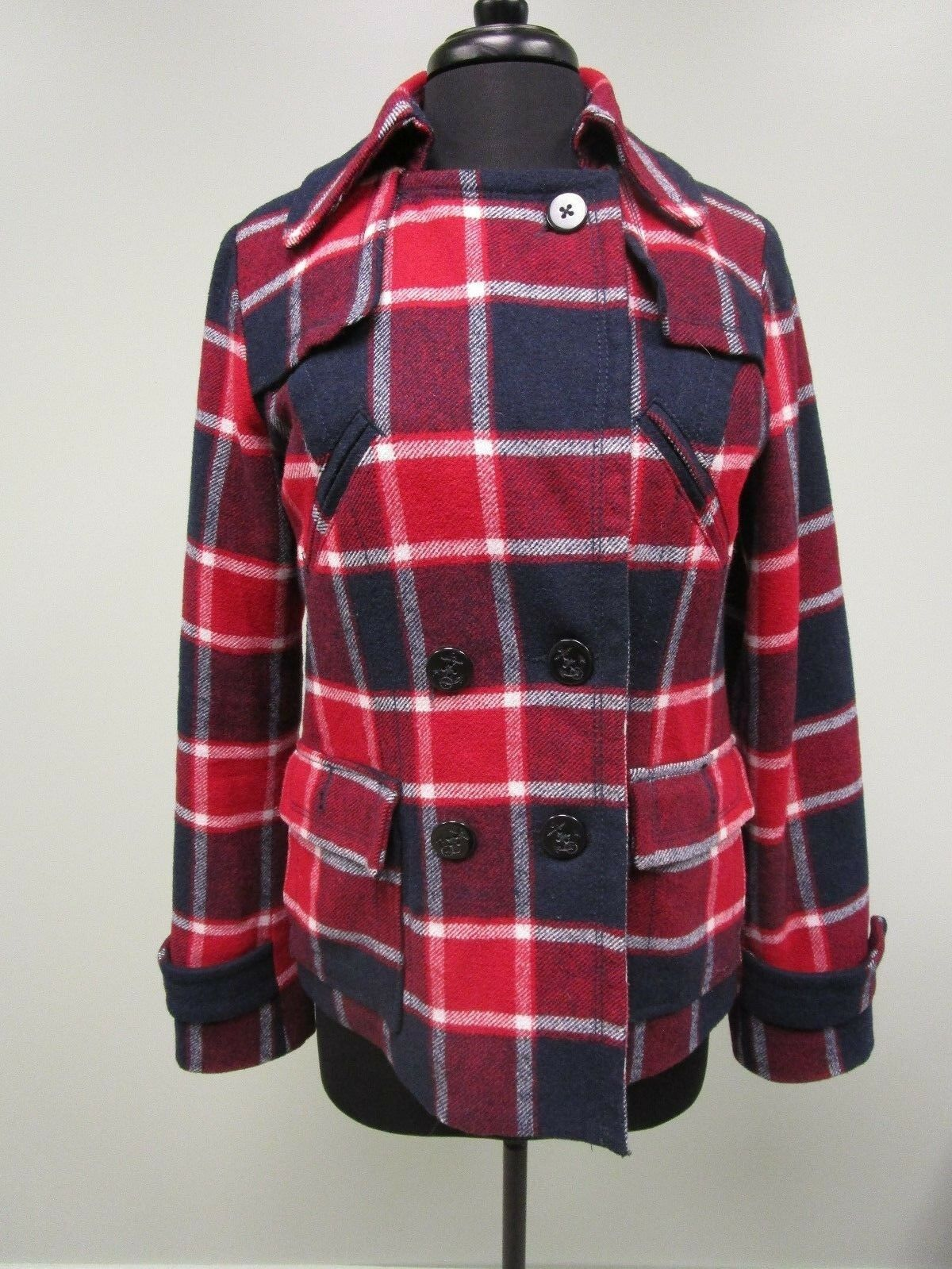 American Eagle Peacoat Plaid Wool Blend Double Breasted Lined Women's Size M